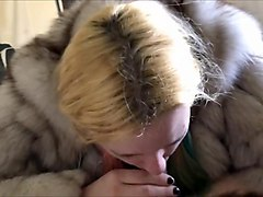 White girl in fur suck asian cock