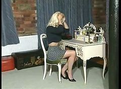 British Blonde Slut plays with herself in various scenes
