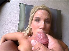 blond haired milfie wife of my friend was rewarded with messy facial